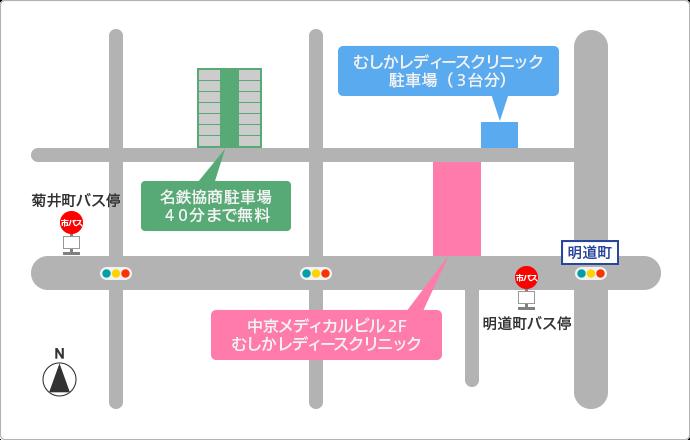 周辺地図。駐車場やバス停の位置も掲載されています。